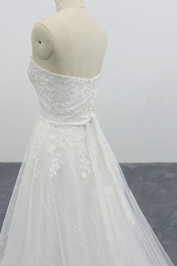 BMbridal Strapless Tulle Chapel Train A-line Wedding Dress On Sale_7