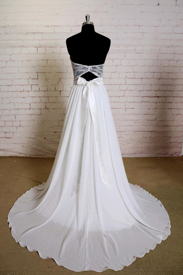 BMbridal Strapless Lace Chiffon A-line Wedding Dress On Sale_3