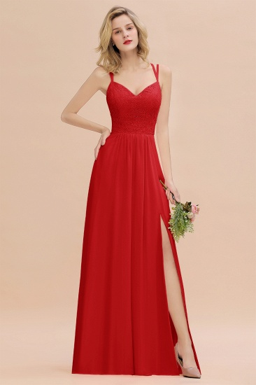 Sexy Spaghetti-Straps Coral Lace Bridesmaid Dresses with Slit_9