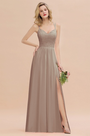 BMbridal Sexy Spaghetti-Straps Coral Lace Bridesmaid Dresses with Slit_16