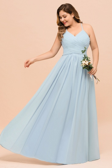 Plus Size V-Neck Ruffle Chiffon Sky Blue Bridesmaid Dresses Online_7