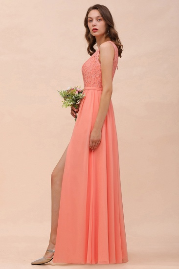 Gorgeous One Shoulder Slit Coral Chiffon Bridesmaid Dresses with Lace_8