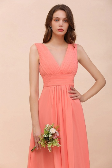 Elegant V-Neck Ruffle Coral Chiffon Cheap Bridesmaid Dresses Online_6
