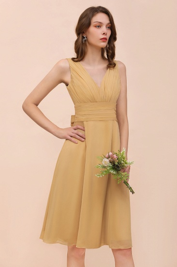 BMbridal Affordable V-Neck Ruffle Gold Short Bridesmaid Dresses with Bow_6
