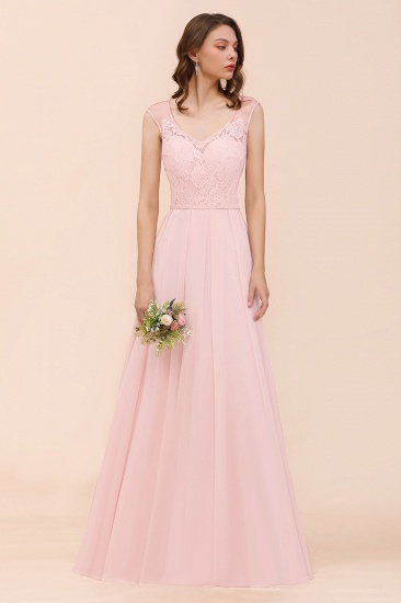 BMbridal Elegant Pink Lace Straps Ruffle Affordable Bridesmaid Dress_4