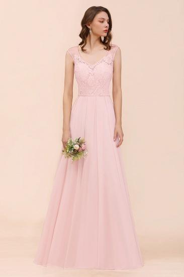 Elegant Pink Lace Straps Ruffle Affordable Bridesmaid Dress_4