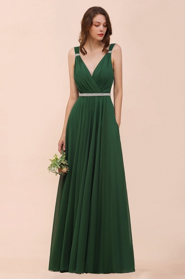 Gorgeous Chiffon V Neck Ruffle Bridesmaid Dress with Beading Sash_5