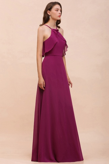 Stylish Spaghetti Straps Mulberry Chiffon Bridesmaid Dress with Ruffles_7
