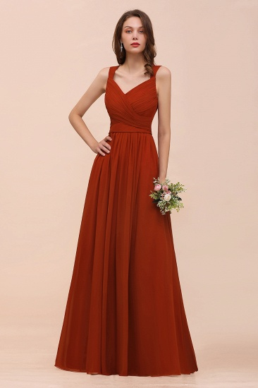 BMbridal New Arrival Gorgeous Straps Ruffle Rust Long Bridesmaid Dress_8