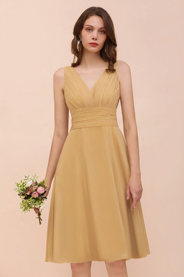 BMbridal Affordable V-Neck Ruffle Gold Short Bridesmaid Dresses with Bow_9