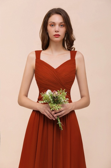 BMbridal New Arrival Gorgeous Straps Ruffle Rust Long Bridesmaid Dress_9