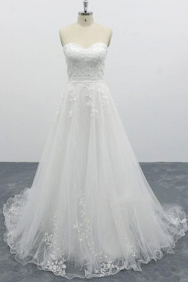 BMbridal Strapless Tulle Chapel Train A-line Wedding Dress On Sale_1
