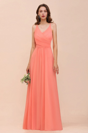 New Stylish V Neck Ruffle Coral Bridesmaid Dress