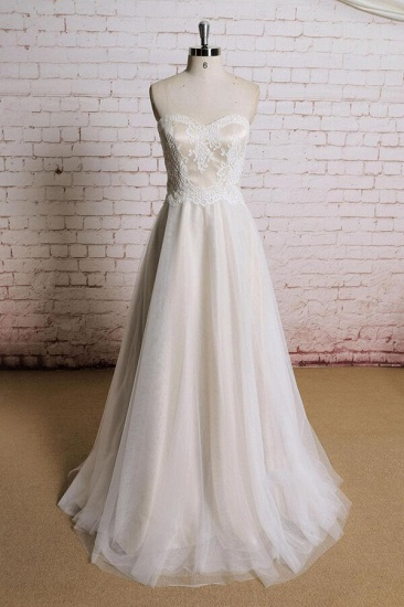 BMbridal Awesome Strapless Lace Tulle A-line Wedding Dress On Sale_1