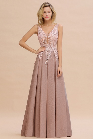 Dusty Pink V-Neck Long Prom Dress With Lace Appliques Online_15