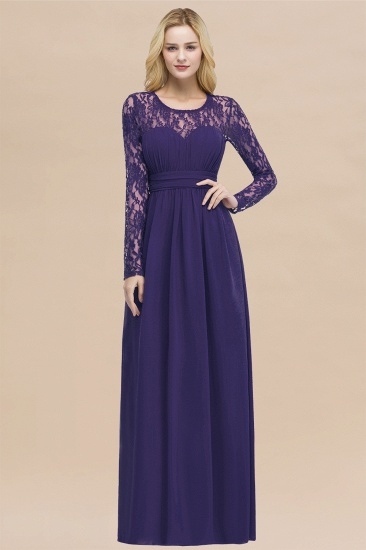BMbridal Elegant Lace Burgundy Bridesmaid Dresses Online with Long Sleeves_19