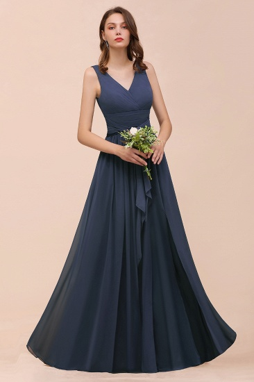 Affordable V-Neck Chiffon Long Stormy Bridesmaid Dress With Slit_8