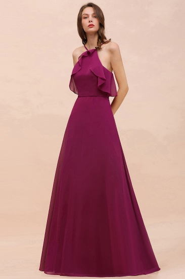 Stylish Spaghetti Straps Mulberry Chiffon Bridesmaid Dress with Ruffles_5