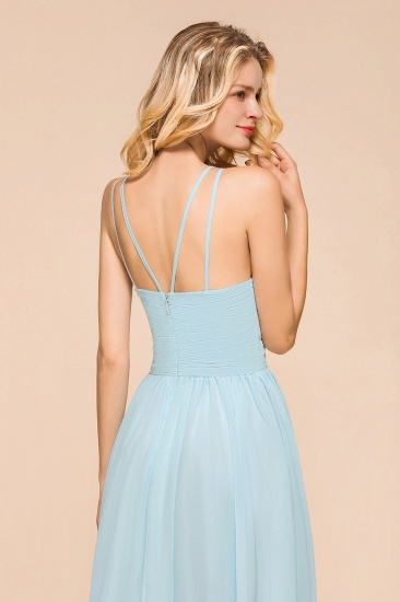 Gorgeous Halter Ruffle Sky Blue Affordable Bridesmaid Dress_9
