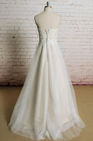 BMbridal Awesome Strapless Lace Tulle A-line Wedding Dress On Sale_3
