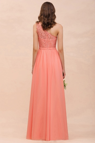 Gorgeous One Shoulder Slit Coral Chiffon Bridesmaid Dresses with Lace_3