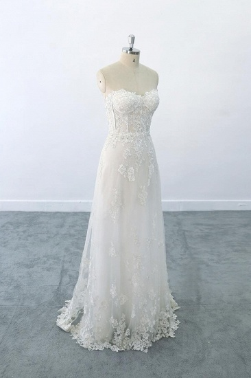 BMbridal Appliques Strapless Tulle Sheath Wedding Dress On Sale_2