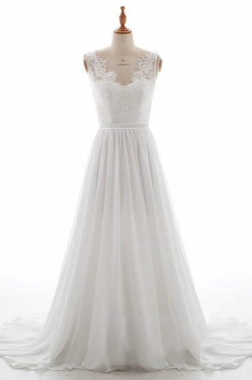 BMbridal Affordable V-neck Lace Chiffon A-line Wedding Dress On Sale_1