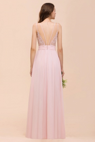 Gorgeous Chiffon Ruffle Blushing Pink Bridesmaid Dress with Spaghetti Straps_3