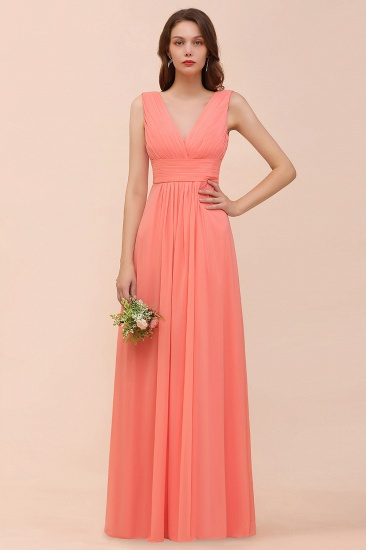 Chic Coral V Neck Ruffle Bridesmaid Dress