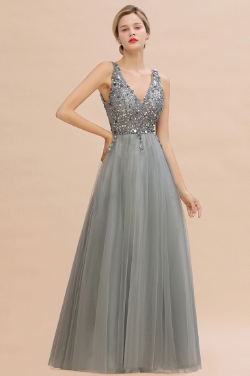 BMbridal Glamorous V-Neck Sleeveless Prom Dress Long Tulle Evening Gowns With Crystals_11