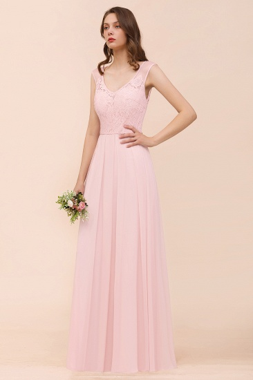 BMbridal Elegant Pink Lace Straps Ruffle Affordable Bridesmaid Dress_5
