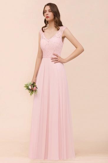 Elegant Pink Lace Straps Ruffle Affordable Bridesmaid Dress_5