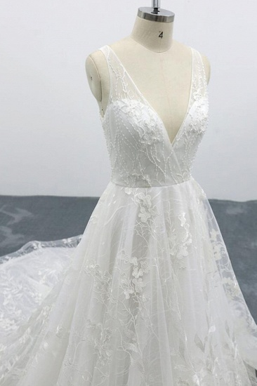 BMbridal Elegant V-neck Appliques Tulle A-line Wedding Dress On Sale_7