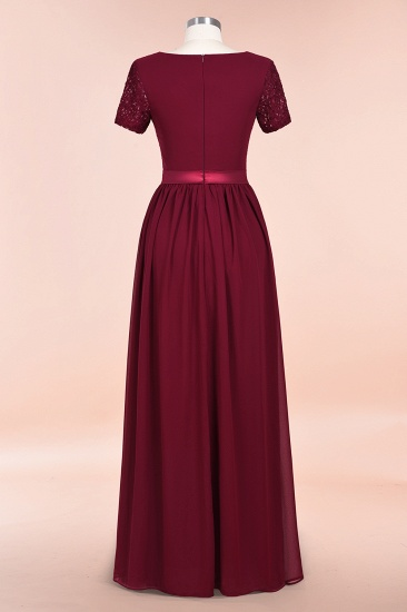 Elegant Chiffon Lace Jewel Short-Sleeves Affordable Bridesmaid Dress_62