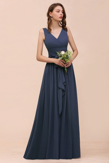 Affordable V-Neck Chiffon Long Stormy Bridesmaid Dress With Slit_7