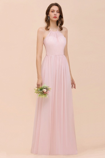 BMbridal Gorgeous Chiffon Halter Ruffle Affordable Long Bridesmaid Dress_55