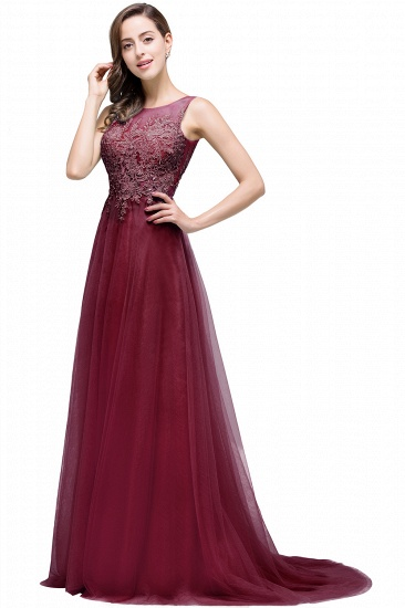 BMbridal A-line Court Train Tulle Evening Dress with Appliques_5