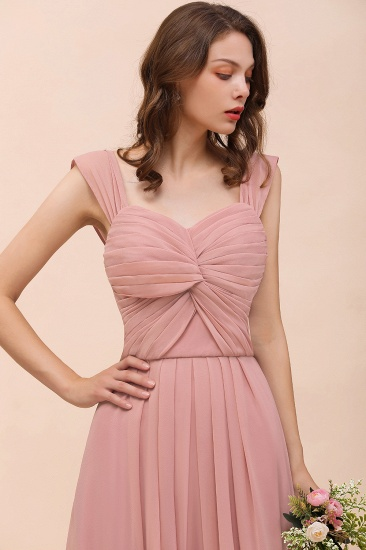 Vintage Mauve Chiffon Straps Ruffle Affordable Bridesmaid Dress_9