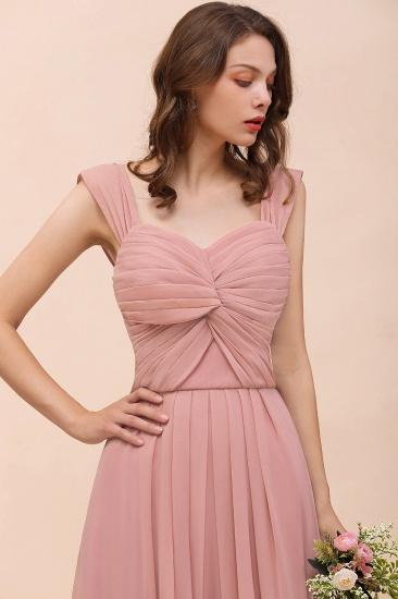 BMbridal Vintage Mauve Chiffon Straps Ruffle Affordable Bridesmaid Dress_9