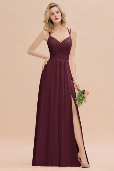 BMbridal Sexy Spaghetti-Straps Coral Lace Bridesmaid Dresses with Slit_47