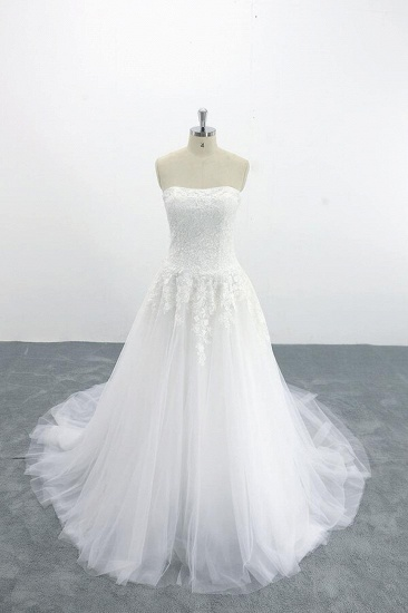 BMbridal Graceful Strapless Appliques Tulle Wedding Dress On Sale