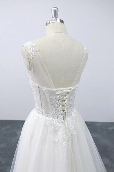 BMbridal Lace-up V-neck Appliques Tulle A-line Wedding Dress On Sale_7