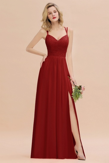Sexy Spaghetti-Straps Coral Lace Bridesmaid Dresses with Slit_49