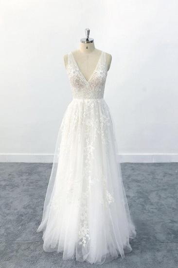 BMbridal Elegant V-neck Appliques Tulle A-line Wedding Dress On Sale_1