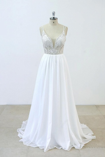 BMbridal Elegant Beading Chiffon A-line Wedding Dress On Sale