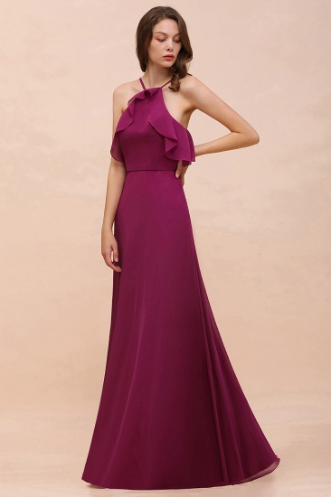 Stylish Spaghetti Straps Mulberry Chiffon Bridesmaid Dress with Ruffles_6