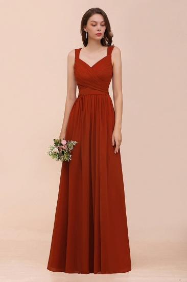 BMbridal New Arrival Gorgeous Straps Ruffle Rust Long Bridesmaid Dress_1
