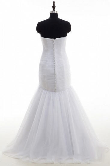 BMbridal Strapless Ruffle Tulle Mermaid Wedding Dress On Sale_3