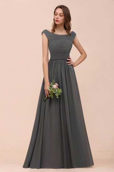 Steel Grey Off The Shoulder Ruffle Bridesmaid Dress with Slit_6