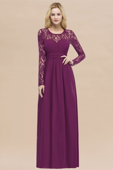 BMbridal Elegant Lace Burgundy Bridesmaid Dresses Online with Long Sleeves_42